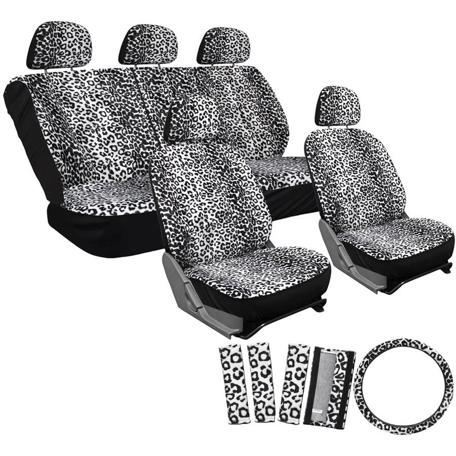 OxGord 17-Piece Set Leopard Animal Print Auto Seat Covers Set, Front Low Back Buckets, Rear Split Bench, White