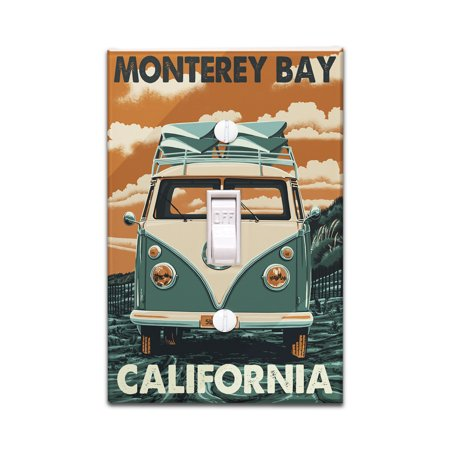Monterey Bay  California   Vw Van   Letterpress   Lantern Press Artwork  Light Switchplate Cover