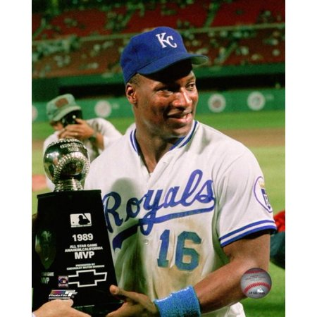 Bo Jackson with All-Star Game MVP Trophy Photo (Bo Jackson Home Run All Star Game)