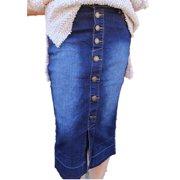 High Waist Women Denim Skirt Buttons Long Skirt
