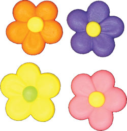 Flower Power Assortment Royal Icing Cake Cupcake Decorations 12 Ct