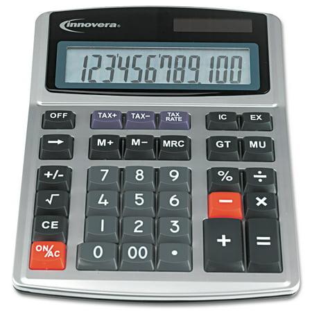 Innovera Commercial Calculator  Large Digit Display  Heavy Duty Keys  Dual Power  Silver