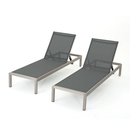 Coral Bay Outdoor Mesh Chaise Lounge, Set of 2, Dark Grey ...