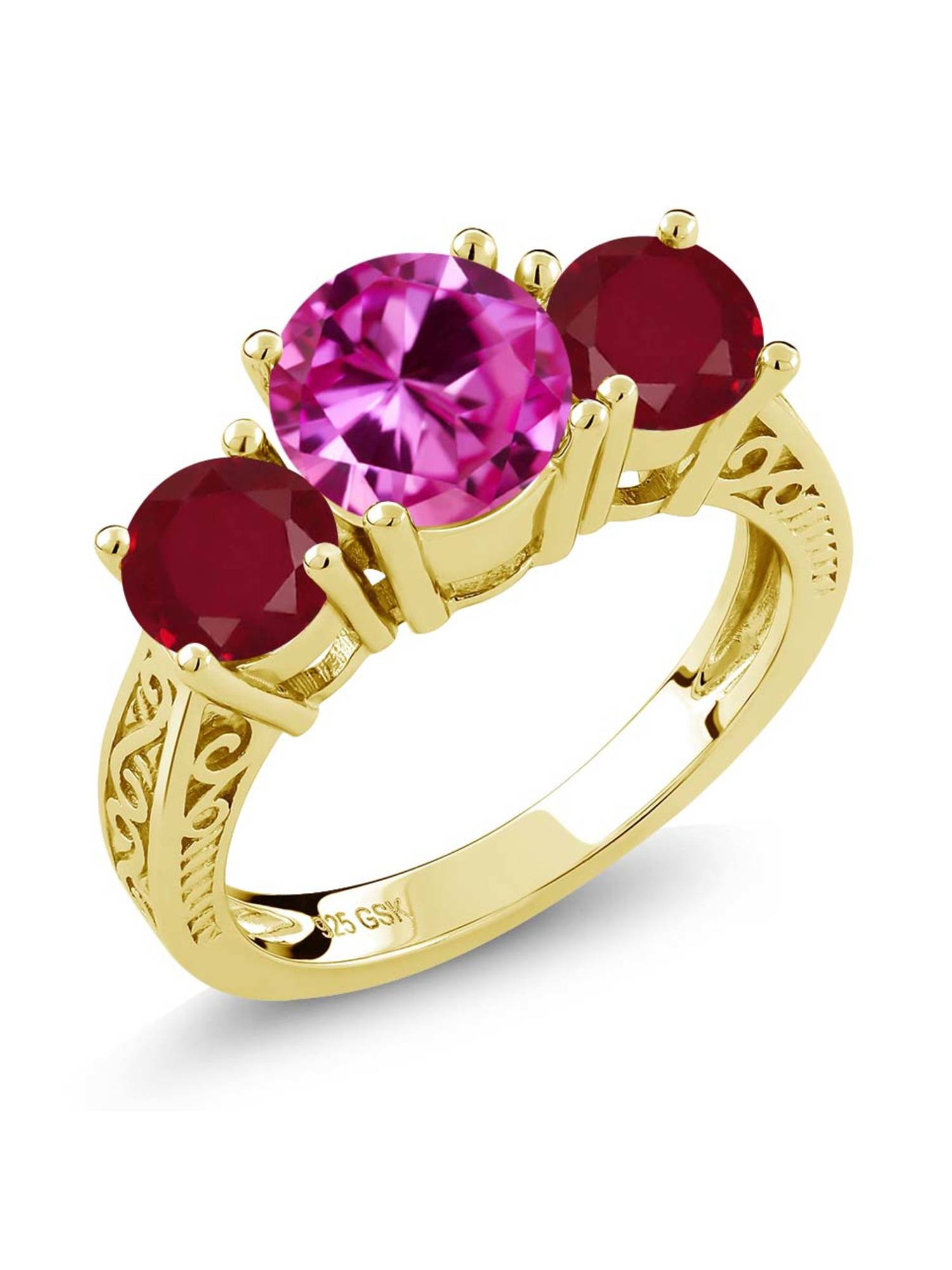 2.76 Ct Pink Created Sapphire Red Ruby 18K Yellow Gold Plated Silver 3-Stone Ring by