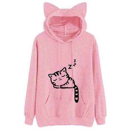 Lavaport Women Cat Ear Long Sleeve Hooded Sweater Top