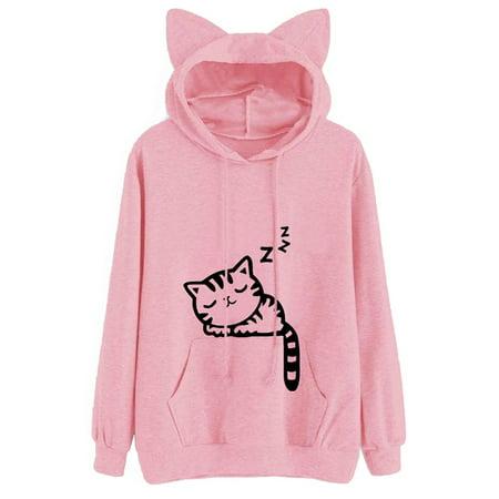Gray Hooded Sweater (Lavaport Women Cat Ear Long Sleeve Hooded Sweater Top )