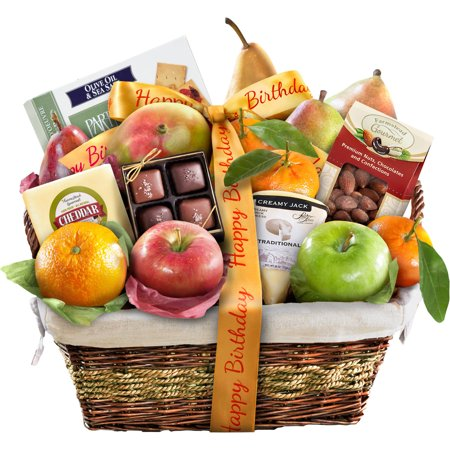 Golden State Fruit Happy Birthday Classic Deluxe Fruit Gift Basket, 16 pc
