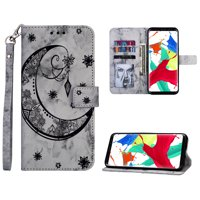 Galaxy S8 Plus Case, S8+ Case Wallet, Allytech PU Leather Marble Moon Embossed Folio Wrist Strap Full Protective Stand Money & Cards Holder Wallet Case Cover for Samsung Galaxy S8 Plus, Black