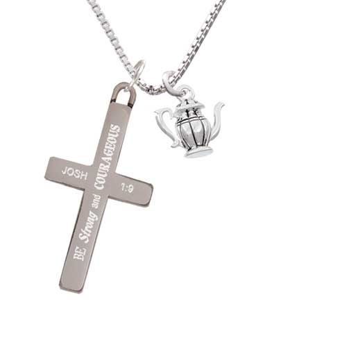 Delight Tea Pot - Strong and Courageous - Cross Necklace