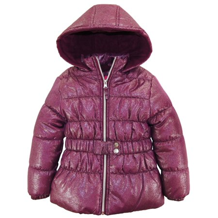 Pink Platinum Girls Coat All Over Spray Print Winter Jacket with Mock - Girls Pink Jackets