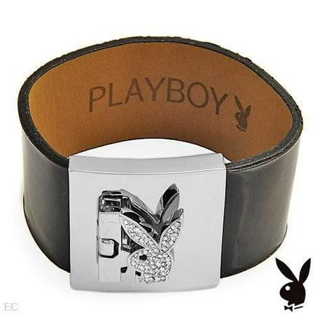 Playboy Bracelet Swarovski Crystals Bunny Black Patent Leather Strap Cuff RARE