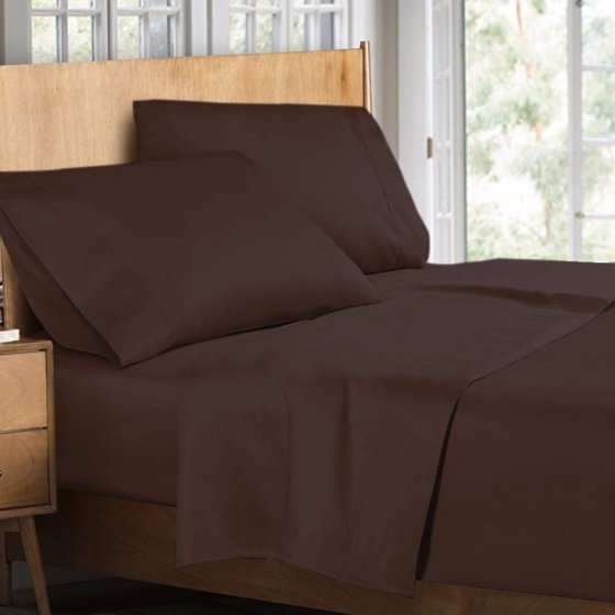 400 thread count 100 egyptian cotton 4 piece bed sheet set king size brown. Black Bedroom Furniture Sets. Home Design Ideas