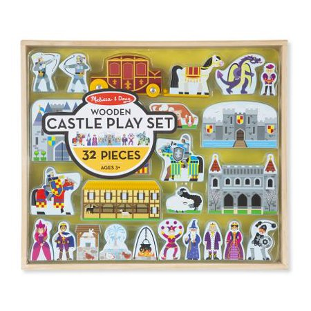 Doug Wooden Castle - Melissa and Doug Wooden Castle and Kingdom Play Set with 32 Blocks