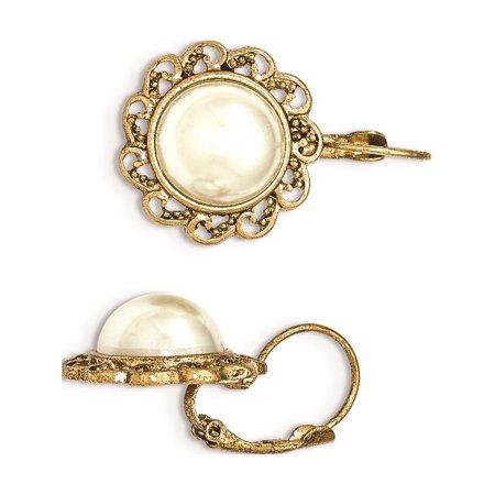 1928 - Gold-tone Simulated Pearl Filigree Leverback Earrings - image 2 of 2