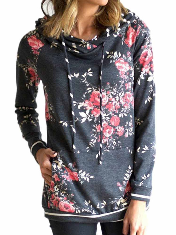 711ONLINESTORE Women Floral Printed Long Sleeve Pullover with Pocket by