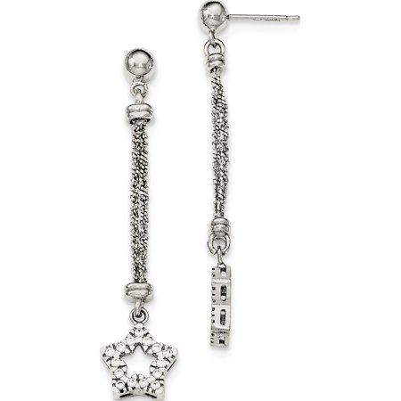 Leslies Fine Designer Sterling Silver Sterling Silver CZ Star 2 Strand Diamond Cut Post Dangle Earrings (Length=56) (Width=13) (Designer 3 Strand)