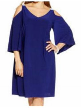 f02c4ad48a9c Product Image MSK NEW Blue Women's Size 1X Plus V-Neck Embellished Sheath  Dress