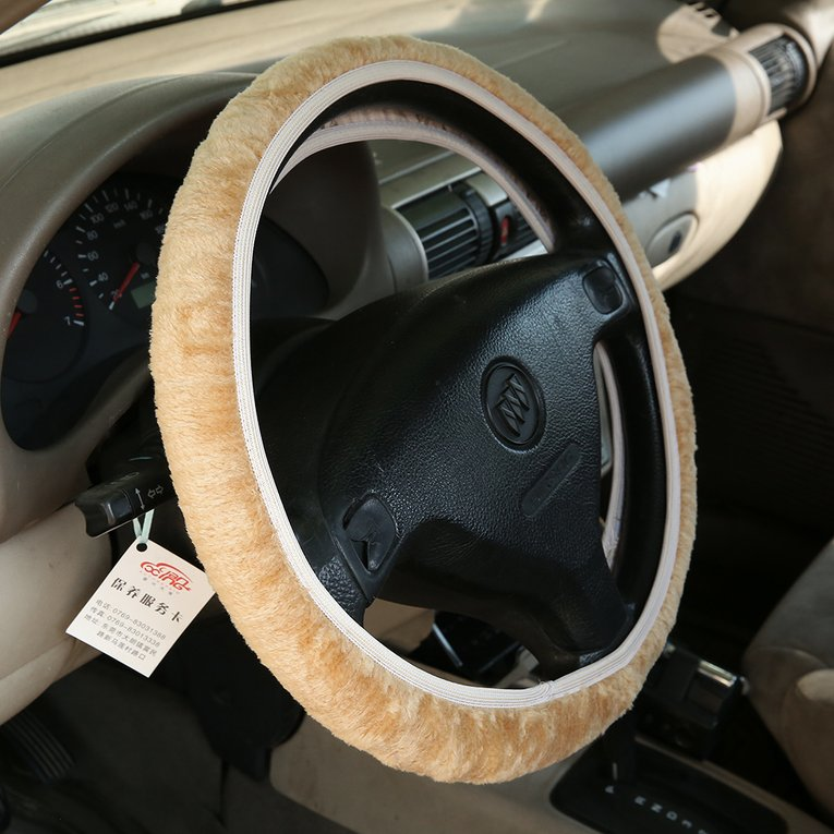 Charming Warm Winter Short Wool Plush Steering Wheel Cover for Car Accessories