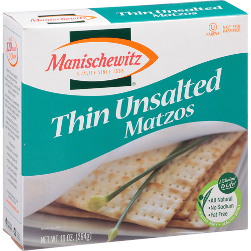 Manischewitz Thin Unsalted Matzos, 10 oz, (Pack of 12)