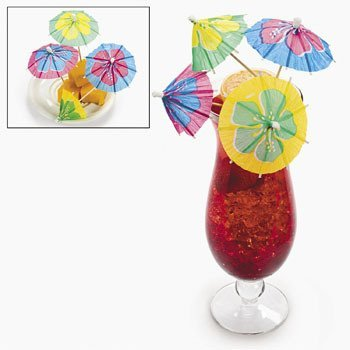 Cocktail Parasol Drink Umbrella Picks - Large Hibiscus Flower Design - Box of 144