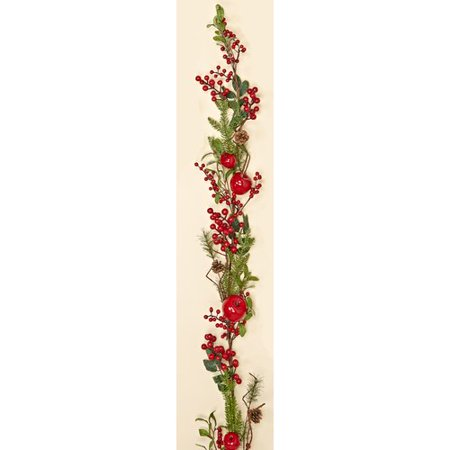 Worth Imports Weatherproof Berry Apple  with Pine Cone Garland
