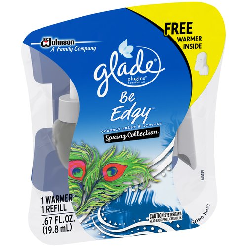 Glade PlugIns Be Edgy Coconut Water & Freesia Spring Collection Scented Oil, 0.67 fl oz