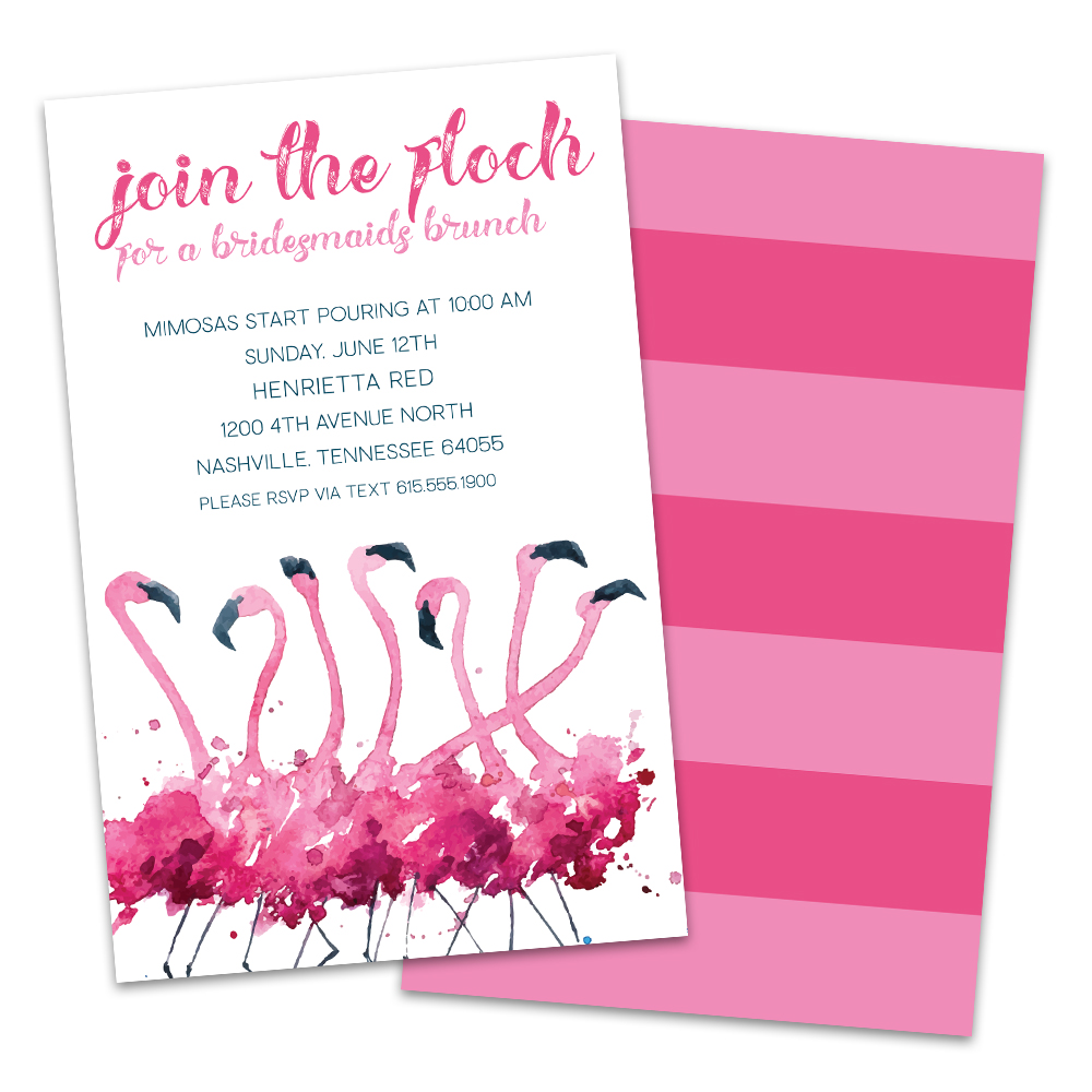 Personalized Join The Flock Flamingo Bridal Luncheon Invitation