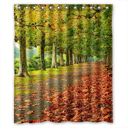 XDDJA green trees and fallen leaves path Shower Curtain Waterproof Polyester Fabric Shower Curtain Size 60x72 inches - image 1 de 1