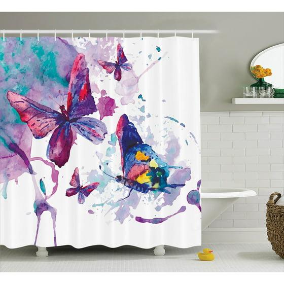 0201f168b8e8e Butterflies decorations shower curtain set