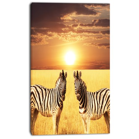 Pair of Zebras in Field At Sunset - Extra Large African Canvas Art Print - image 2 de 3