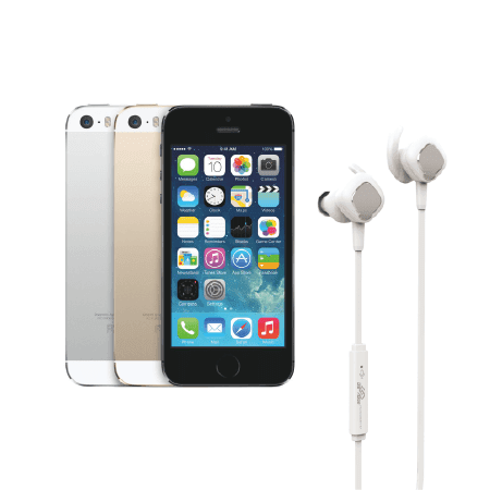 Certified Refurbished Apple iPhone 5S GSM UNLOCKED Silver 32GB - Includes NEW DB1 In-ear Wireless Bluetooth Headphones White](iphone 5s 32gb unlocked new)