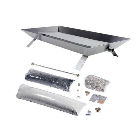"Rasmussen Stainless Steel Custom Pan Vented Fireplace Burner Kit with Strap Legs, Propane, 24"" x 12"""