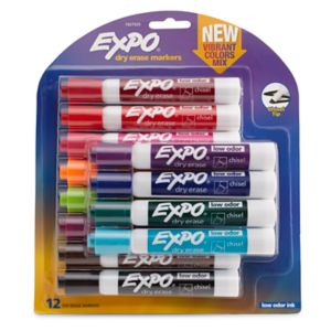 EXPO Low Odor Dry Erase Vibrant Color Markers, Assorted Colors, Medium, 12/Set