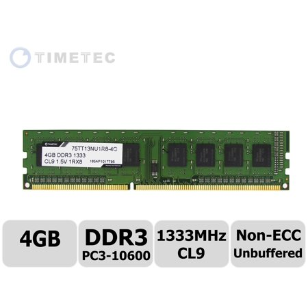 Ecc Unbuffered Notebook Memory Module - Timetec® (P/N 75TT133U1R8-4G) 4GB Single Rank 1333MHz DDR3 (PC3-10600) Non-ECC Unbuffered CL9 240-Pin UDIMM 1Rx8 512x8 1.5V Desktop PC Computer Memory Ram Module Upgrade (4GB)