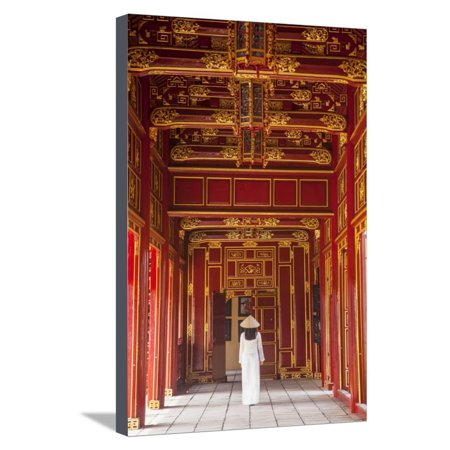 - Woman Wearing Ao Dai Dress in Imperial Palace Inside Citadel, Hue, Thua Thien-Hue, Vietnam (Mr) Stretched Canvas Print Wall Art By Ian Trower