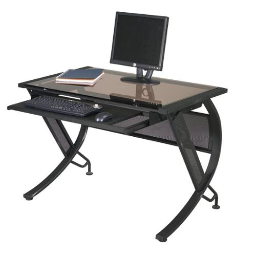 Office Star Products Black Metal/ Sepia Glass Computer Desk with Keyboard Tray