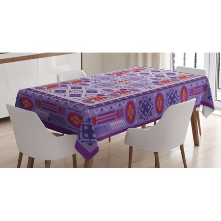 Afghan Tablecloth, Timeless Tribal Pattern with Middle Eastern Folklore Traditional Afghan Shapes Dots, Rectangular Table Cover for Dining Room Kitchen, 60 X 90 Inches, Multicolor, by Ambesonne (Afghan Cloth)