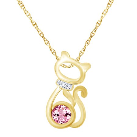 Round Shape Simulated Pink Tourmaline & White CZ 14K Yellow Gold Over Sterling Silver Cat Pendant