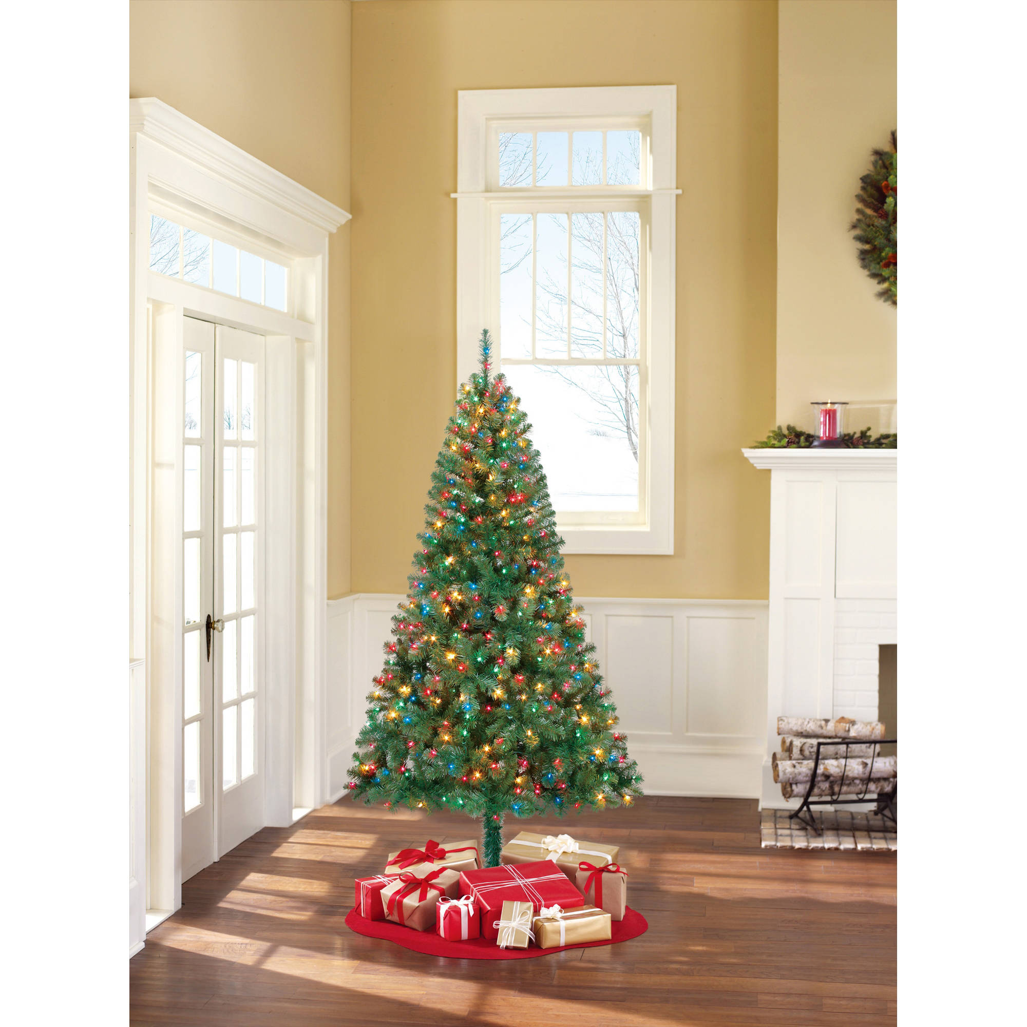 Holiday Time Pre-Lit 6.5' Madison Pine Green Artificial Christmas ...
