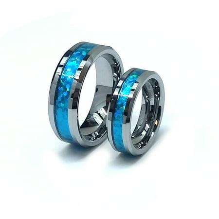 Inlay Tungsten Wedding Band - Men's & Ladies 8MM/6MM Tungsten Carbide Hawaiian Blue Inlay Wedding Band Ring Set