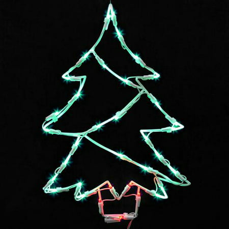 18 lighted led christmas tree window silhouette