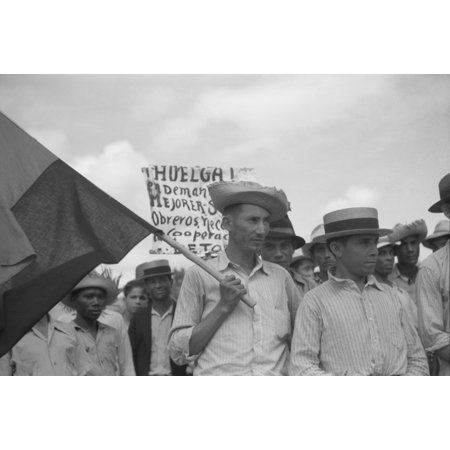 Puerto Rico Strike 1942 Nstriking Workers Picketing Near The Sugar Mill In Yabucoa Puerto Rico Photograph By Jack Delano 1942 Rolled Canvas Art     18 X 24