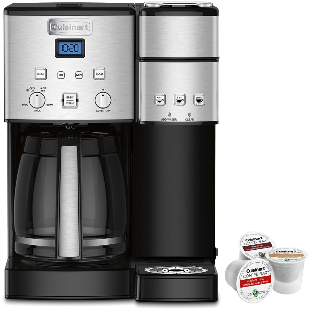 Cuisinart 12-Cup Coffee Maker and Single-Serve Brewer, Stainless Steel (SS-15) with Coffee Bar K Cup Single Serve 3 Capsules