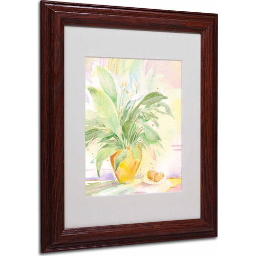 "Trademark Fine Art ""The Peace Lily"" Matted Framed Art by Sheila Golden, Wood Frame"