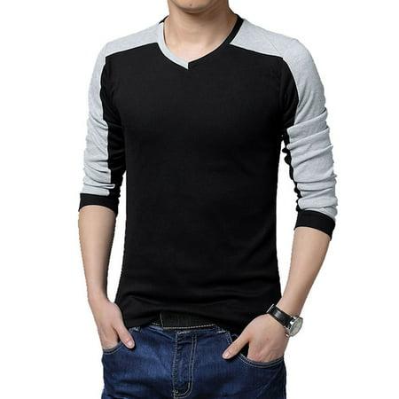 Unique Bargains Men's Contrast Color V Neck Long Sleeve Casual T-Shirt