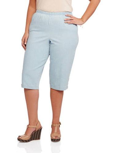 Women's Plus-Size Pull-On Capri Pearl Snap