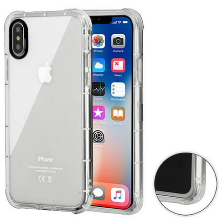 Apple IPhone X, 10, Ten Phone Case Clear Shockproof Hybrid Armor Rubber Silicone Gel Cover - Clear