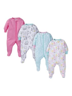 Onesies Brand Baby Girls Sleep 'N Play Pajamas, 4-Pack