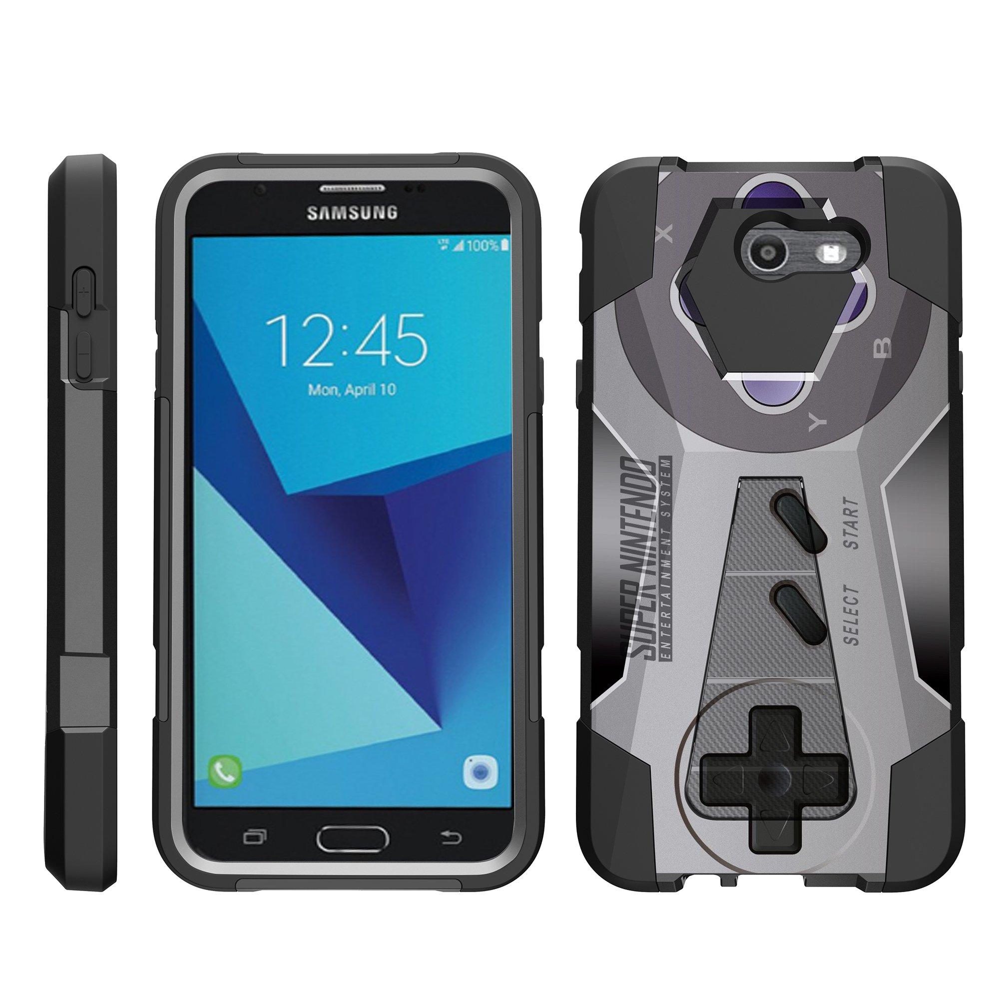 TurtleArmor ® | For Samsung Galaxy J7 | J7 V | J7 Perx | J7 Sky Pro | J7 Prime | Halo [Dynamic Shell] Dual Layer Hybrid Silicone Hard Shell Kickstand Case - Classic Game Controller
