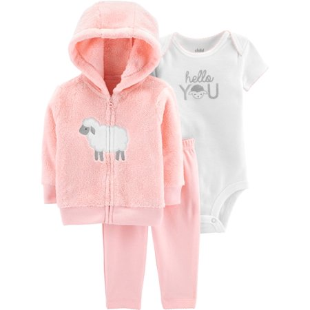 461c5ddcd8fa Hooded Cardigan, Short Sleeve Bodysuit & Pants, 3-Piece Outfit Set (Baby  Girls)